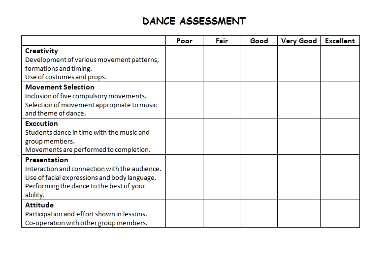 dance rubric middle school